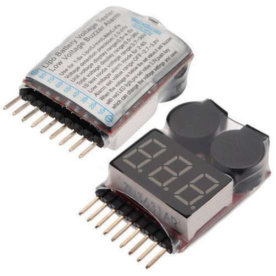 LiPo Battery Voltage Tester with Buzzer Alarm 1-8S